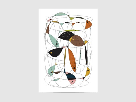 "Fishing net - The ""Fishing net"" print is inspired by the mid-20th century interior design.  It is an open edition print, not signed. If you would like my signature on your print, please tell me so."