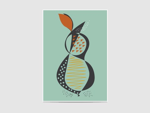 "Pear - The ""Pear"" print is inspired by the mid-20th century interior design.  It is an open edition print, not signed. If you would like my signature on your print, please tell me so."