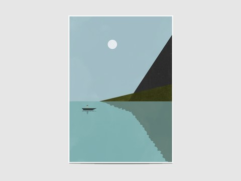 "Sailing at night - The ""Sailing at night"" is part of the geometric collection ""Lanscapes"". It is an open edition print, not signed. If you would like my signature on your print, please tell me so."