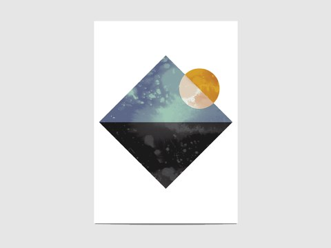 """Sea and sun - The """"Sea and sun"""" is part of the geometric collection """"Lanscapes"""". It is an open edition print, not signed. If you would like my signature on your print, please tell me so."""