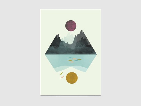 """Calm and storm - The """"Calm and storm"""" is part of the geometric collection """"Lanscapes"""". It is an open edition print, not signed. If you would like my signature on your print, please tell me so."""